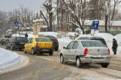 Winter landscape. Harsh winter with snow in Bucharest, capital of Romania Stock Photography