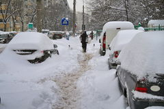 Winter landscape. Harsh winter with snow in Bucharest, capital of Romania Stock Images