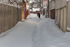 Winter landscape. Harsh winter with snow in Bucharest, capital of Romania Royalty Free Stock Photography