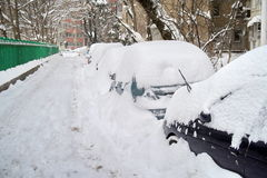 Harsh winter with snow in Bucharest, capital of Romania Royalty Free Stock Photography