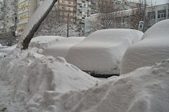 Harsh winter with snow in Bucharest, capital of Romania. Siberian frost Royalty Free Stock Image