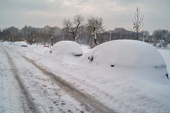 Winter landscape. Harsh winter with snow in Bucharest, capital of Romania Stock Photo