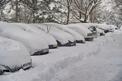 Harsh winter in Bucharest, capital of Romania Royalty Free Stock Photo