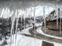 View through long Icicles in India  Royalty Free Stock Photography
