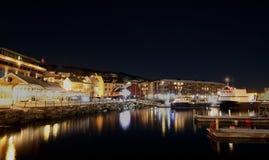 Harstad Νορβηγία τή νύχτα Στοκ Εικόνα