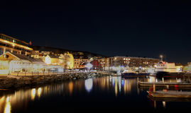 Harstad Norway by night. The harbour of Harstad Norway by night stock image
