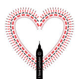 Hart â I liefde Londen - symbolen vector illustratie