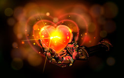 hart abstraktion Manipulator som rymmer som är röd med guld- Bokeh ljus ljus bakgrund royaltyfria bilder