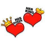 Hart als Koning en Koningin stock illustratie