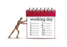 Hart arbeitend Tageskonzept, Büroangestelltmarionette, die den roten Organisator mit langem Zeitplan drückt, stock abbildung