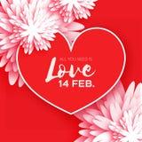 Hart Bloemdocument De gelukkige Dag van de Valentijnskaart `s Royalty-vrije Stock Afbeeldingen