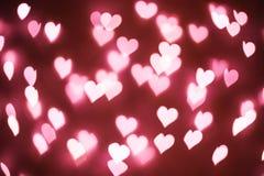 Hart bokeh achtergrond Pastelkleur roze en purpere kleur vage textuur Stock Fotografie