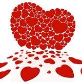 Hart dat door kleine harten wordt samengesteld Stock Foto