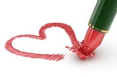Hart dat door rode lippenstift wordt geschreven. Stock Foto's