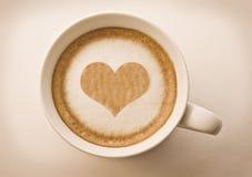 Hart dat op coffe trekt Stock Foto's