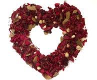 Hart dat van droge bloemen wordt gemaakt Stock Foto's