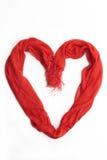 Hart dat van een rode sjaal wordt gemaakt Stock Afbeelding