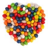 Hart dat van multi-coloured snoepjes met rozijn 1 wordt gemaakt Royalty-vrije Stock Fotografie