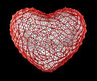 Hart dat van rood plastiek met abstracte gaten wordt gemaakt die op zwarte achtergrond worden geïsoleerd 3d royalty-vrije illustratie