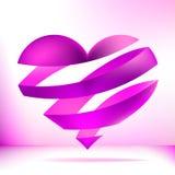 Hart dat van roze lint wordt gemaakt. + EPS8 Stock Fotografie
