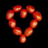 Hart dat van tomaten wordt gemaakt Stock Foto's