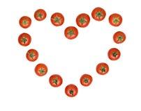 Hart dat van tomaten wordt getrokken Royalty-vrije Stock Afbeelding