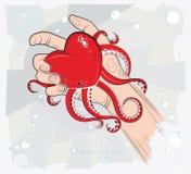 Hart in de hand. Vectorillustratie. De oceaan van liefde. Stock Afbeelding