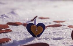 Hart in de sneeuw Royalty-vrije Stock Foto's