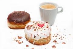 Hart donuts met koffie Royalty-vrije Stock Afbeelding