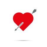 Hart door pijlpictogram voor Valentijnskaartendag die wordt doordrongen Royalty-vrije Stock Afbeelding