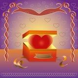 Hart in een doos als gift Stock Afbeelding