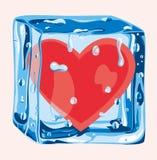 Hart in een ijsblokje Stock Foto's