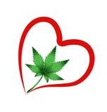 Hart en bladcannabisinstallatie Stock Foto