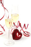 Hart en Champagne voor de Dag van de Valentijnskaart Royalty-vrije Stock Afbeeldingen