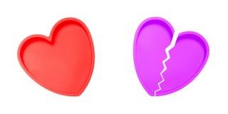 Hart en gebroken hart royalty-vrije stock afbeeldingen