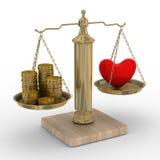 Hart en geld voor schalen Stock Afbeelding