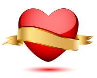 Hart en gouden vlag stock illustratie
