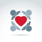 Hart en het sociale medische en pictogram van de gezondheidsorganisatie, mede vector Royalty-vrije Stock Foto
