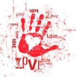 Hart en liefdeillustratie, grunge stijl, vector Stock Afbeelding