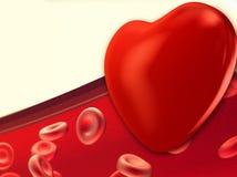 Hart en Rode bloedcellen die door aders vloeien stock illustratie