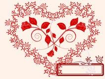 Hart en rozen Stock Afbeelding