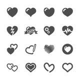 Hart en valentijnskaart de reeks van het dagpictogram, vectoreps10 Stock Foto's