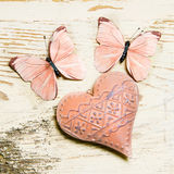 Hart en vlinders Stock Fotografie