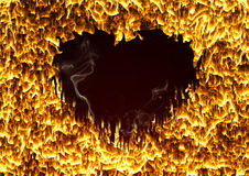 Hart of fire. Fire heart on black background Royalty Free Stock Image
