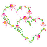 Hart, frame door bloemen. Royalty-vrije Stock Fotografie