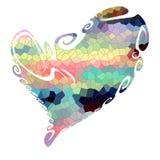 Hart Geïsoleerd speels hart en vormen op witte achtergrond stock illustratie