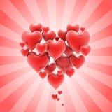 Hart gestalte gegeven cluster van harten Stock Afbeeldingen