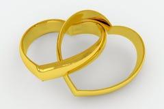 Hart gestalte gegeven gouden trouwringen Stock Afbeelding