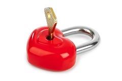 Hart gestalte gegeven slot en sleutel stock afbeeldingen