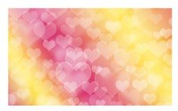 Hart gestalte gegeven vakantie vage bokeh achtergrond De achtergrond van de valentijnskaart stock afbeelding